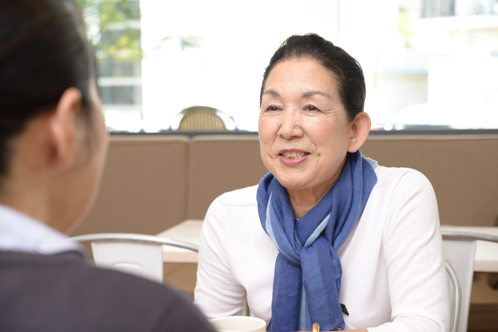 Japanese Senior Ladies Talking at a Cafe