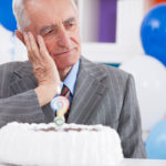 Sad senior man forgot how old is