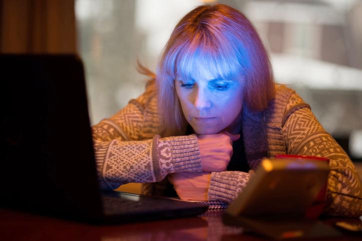 Woman Using Seasonal Affective Disorder (SAD) Light