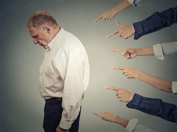 Concept of accusation of a guilty businessman person