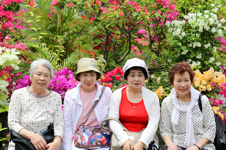 elderly,a lot of flowers
