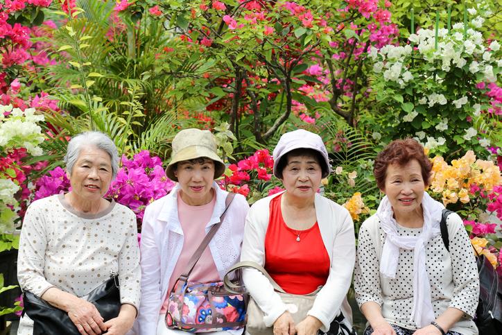 elderly,a lot of flowers