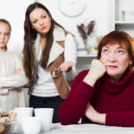 Senior woman having conflict with family