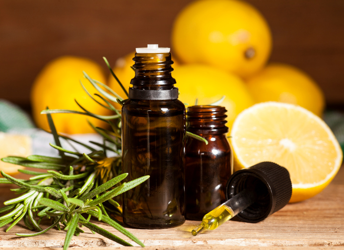 Lemon essential oil and rosemary