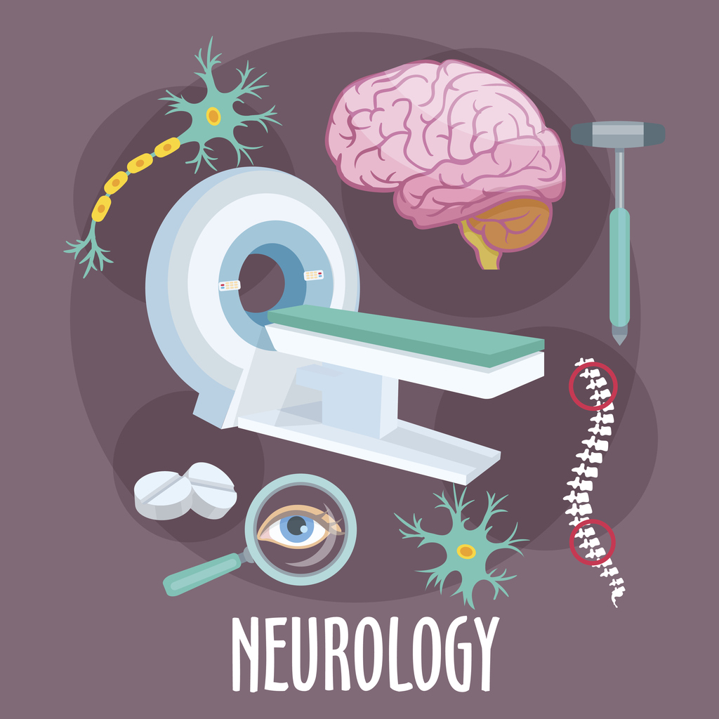 Neurology flat symbol with brain research icons