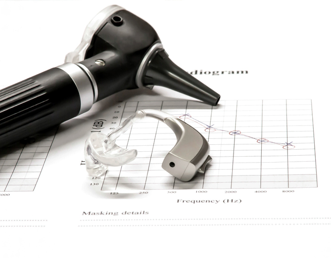 Otoscope and Hearing Aid with test results