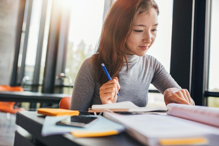 University student preparing for final exams
