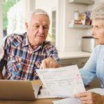 Worried senior couple discussing their bills