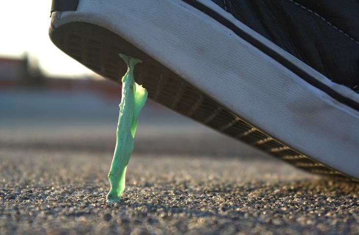 Gum Stuck to a Shoe
