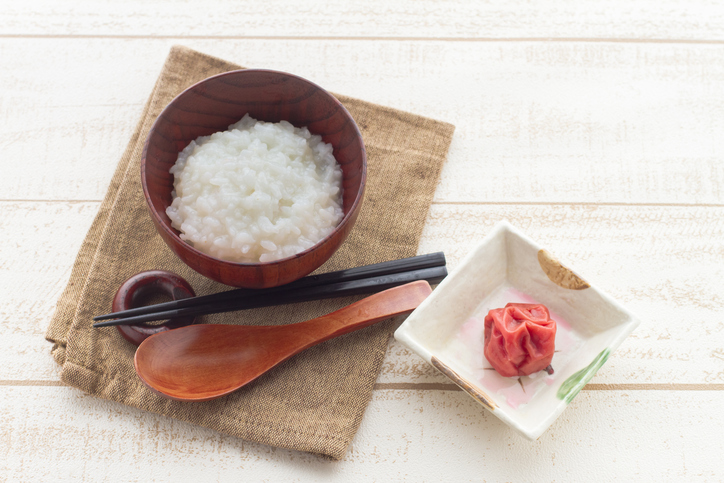 Japanese food, pickled Plum Umeboshi and congee
