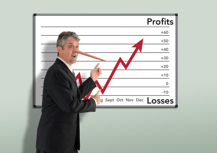 Lying dishonest businessman stockbroker w growing Pinocchio nose