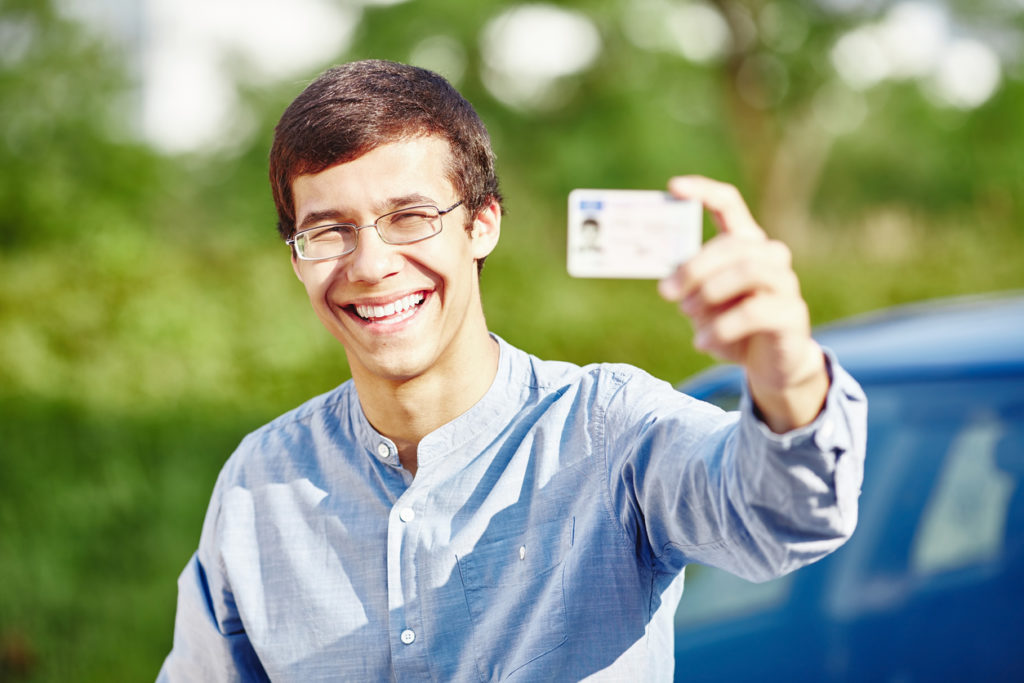 Guy with driving license