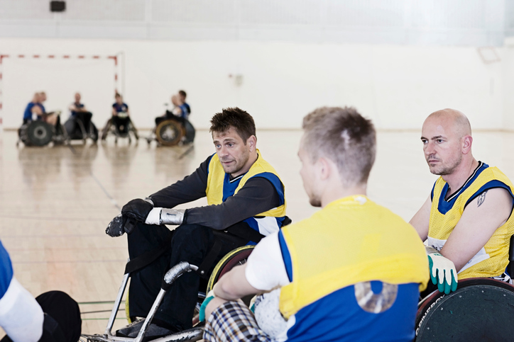 Para rugby team talking during time-out