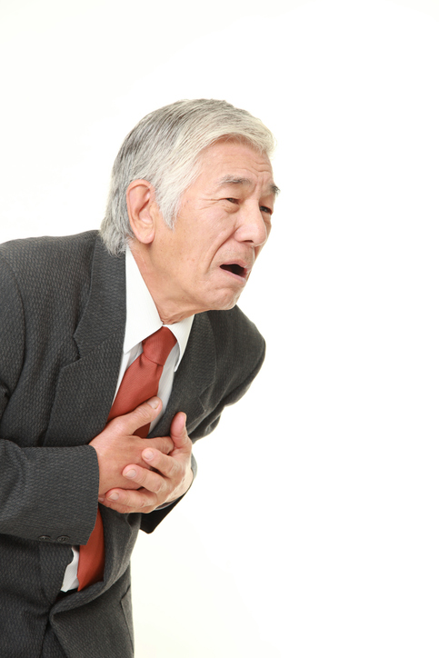 senior Japanese businessman heart attack