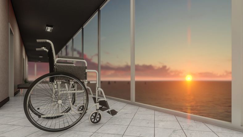 Empty Wheelchair Image with Beautiful Scenery
