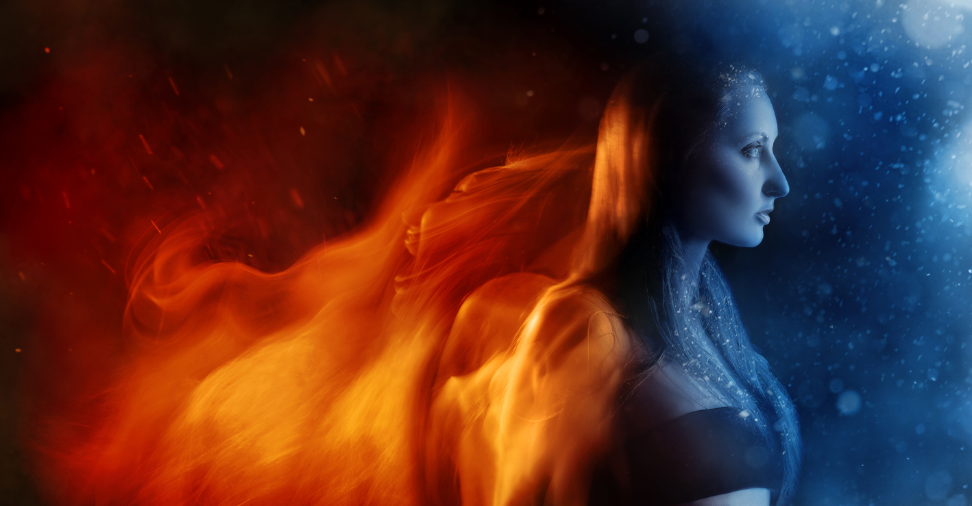 Collaje of winter cold meeting fire heat over woman