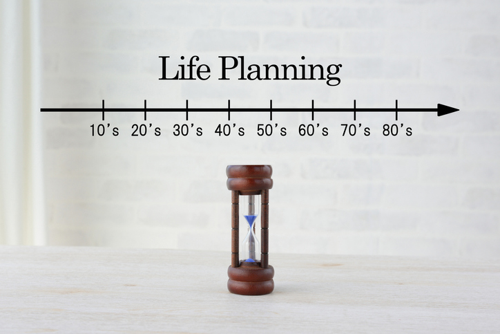 Hourglass with life planning scale
