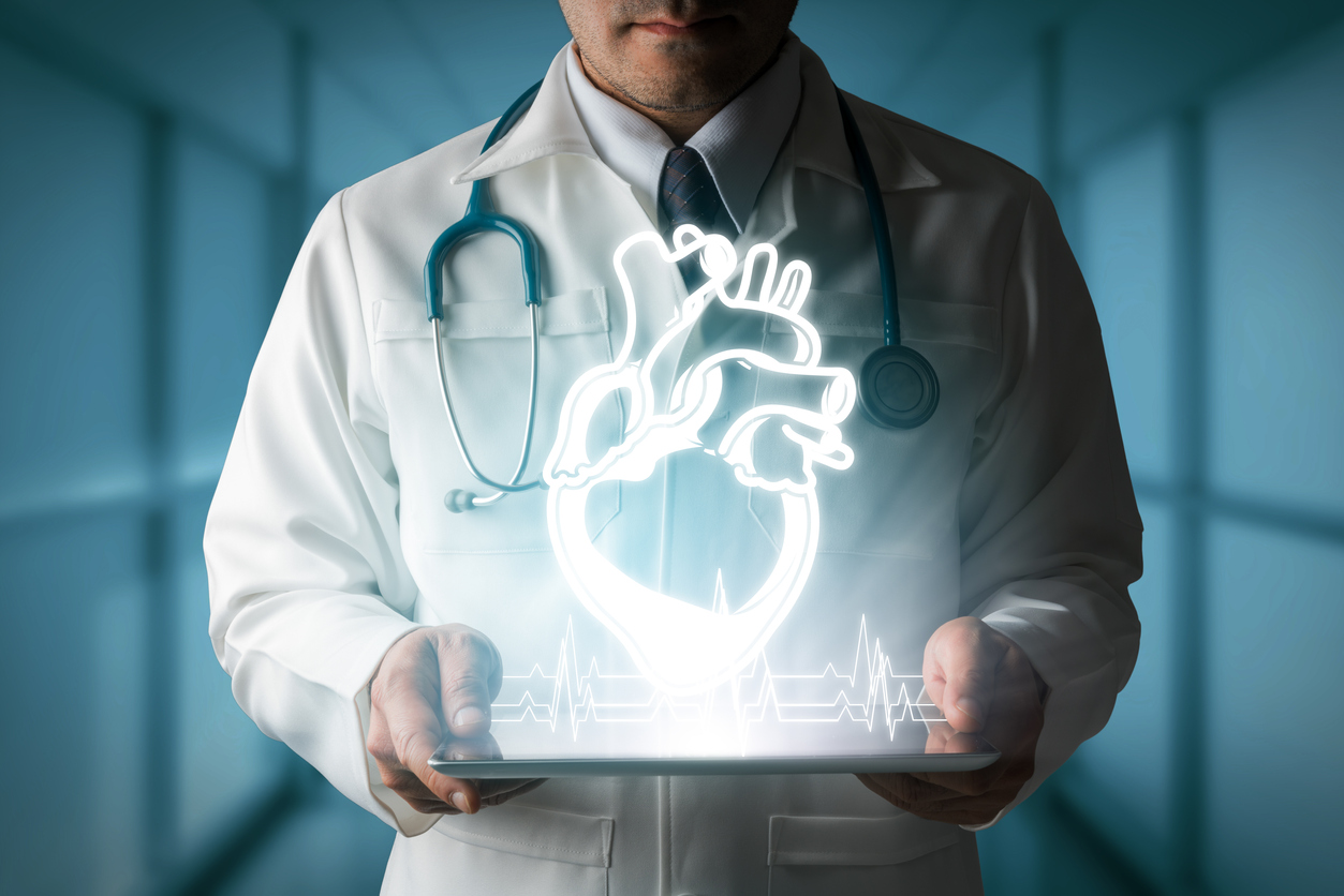 Doctor showing heart hologram from computer.