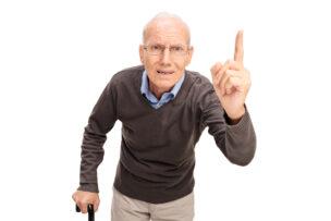 Angry senior man scolding
