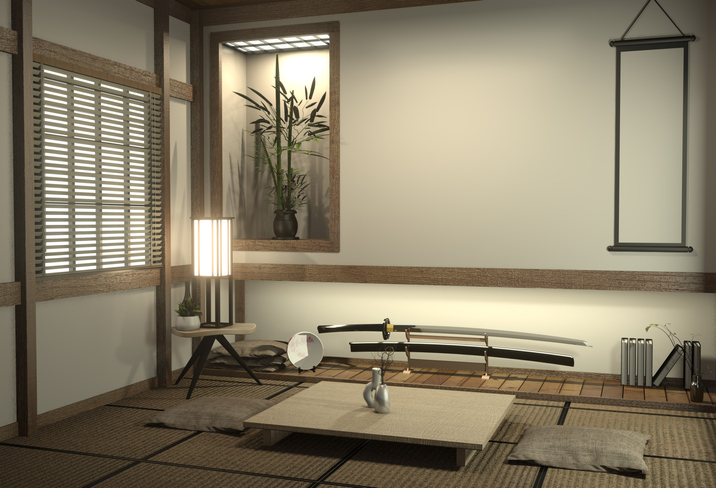 Japan room with tatami mat floor and decoration japan style was designed in japanese style.3d rendering