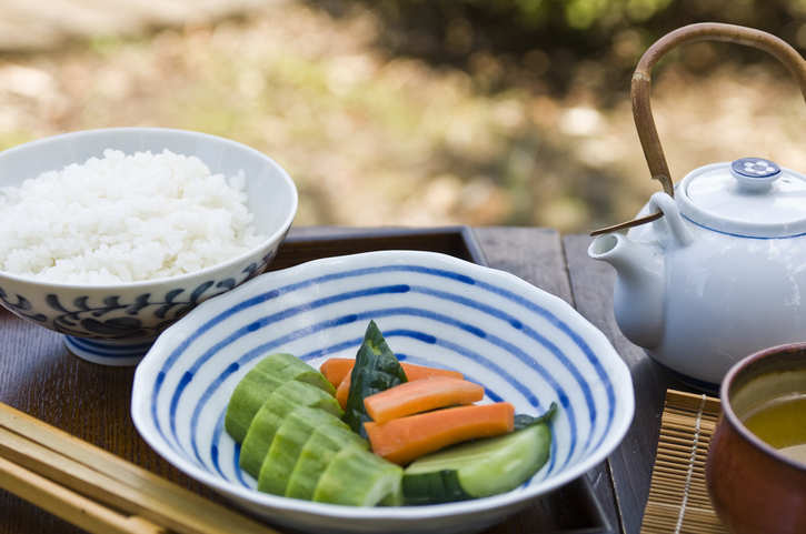 Japanese pickles and rice