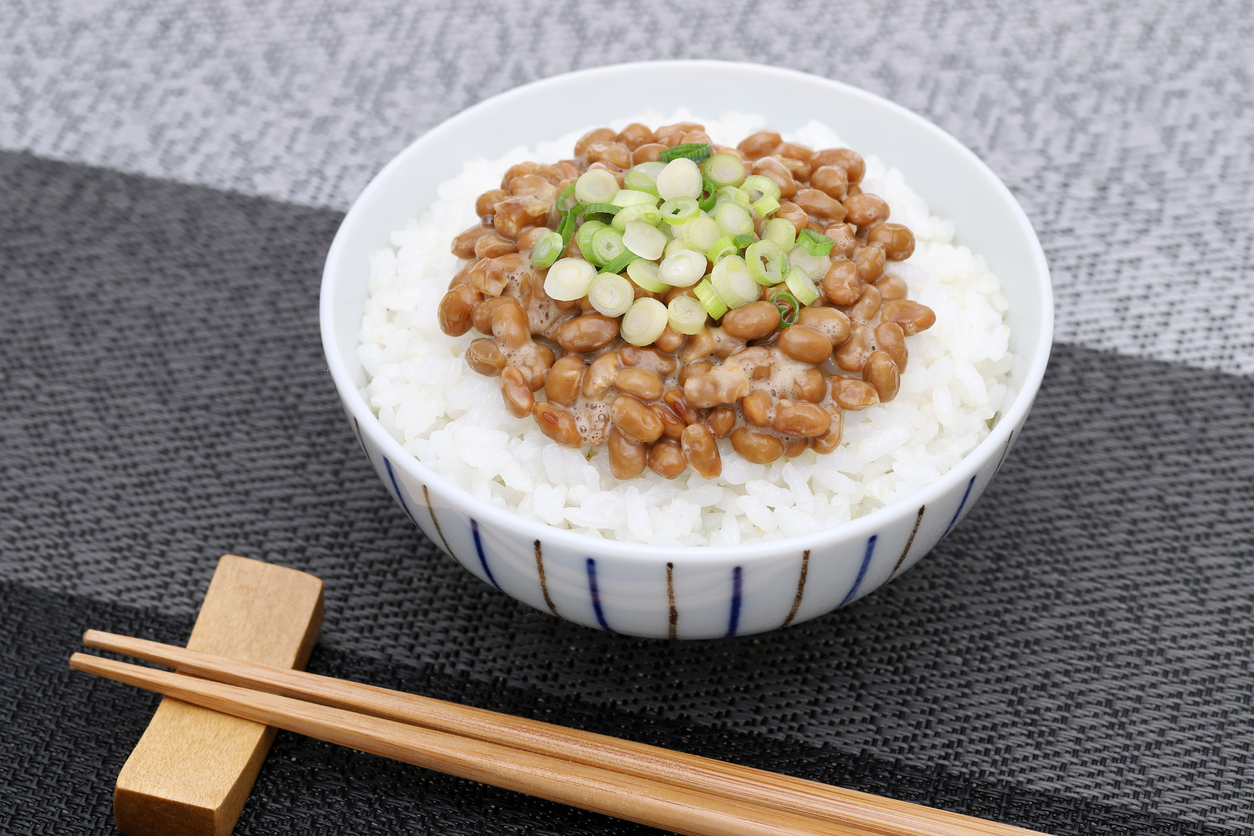 Japanese cooked rice with natto