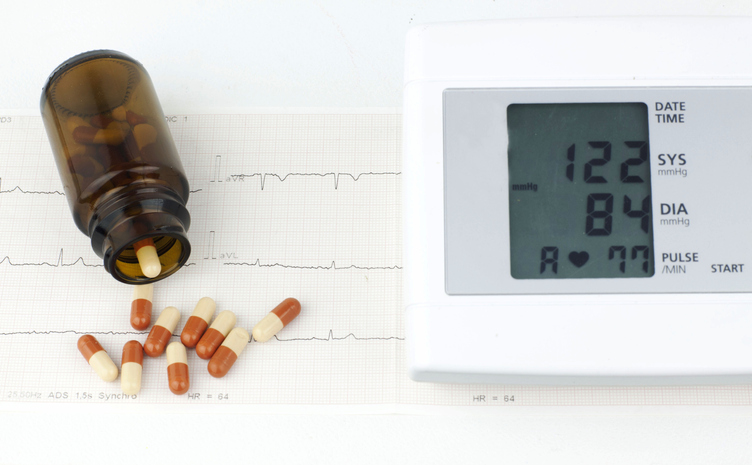 Sphygmomanometer and pills on a sheet of EKG