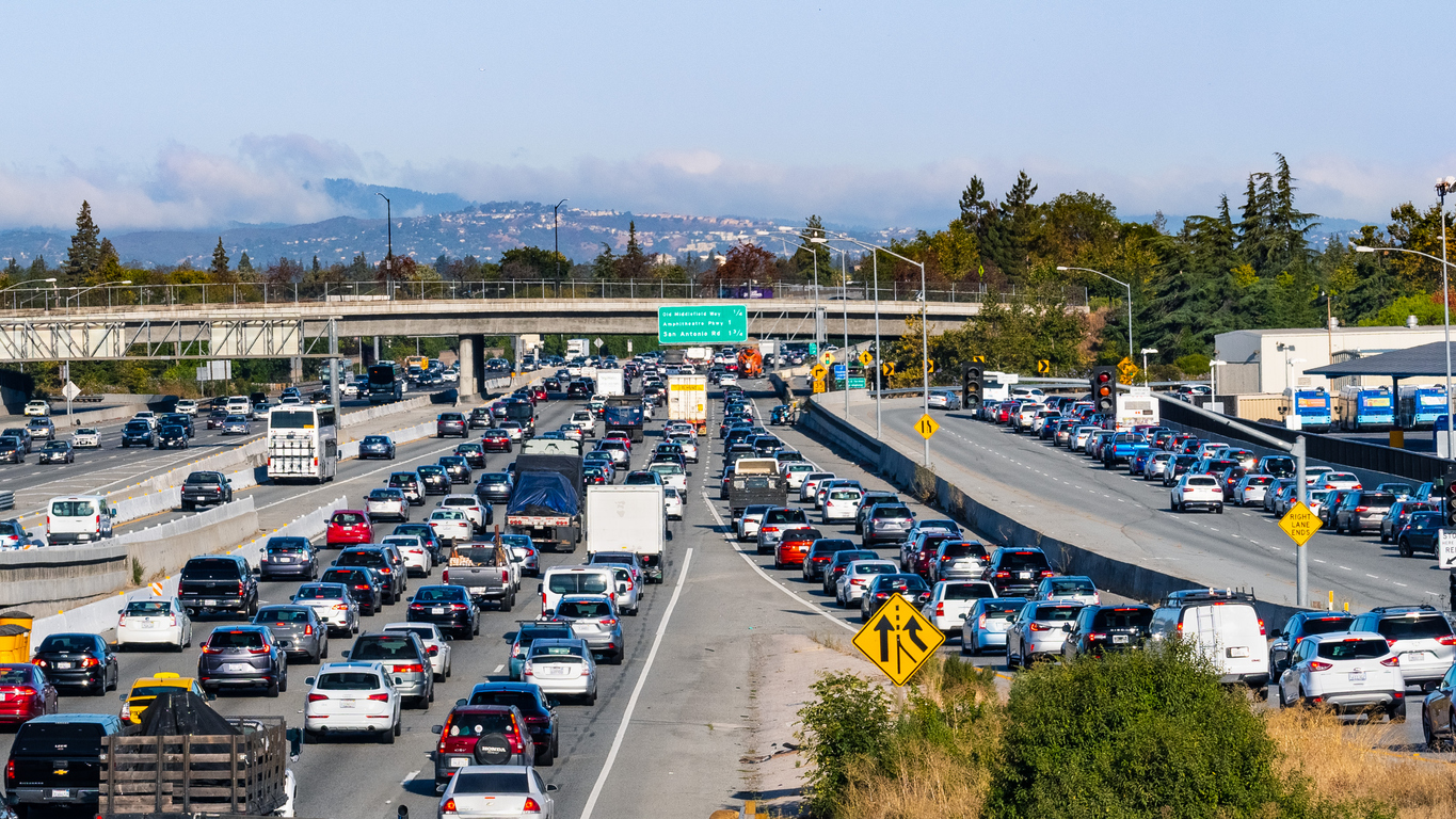 Heavy morning traffic on Highway 101 going through Silicon Valley, South San Francisco Bay Area
