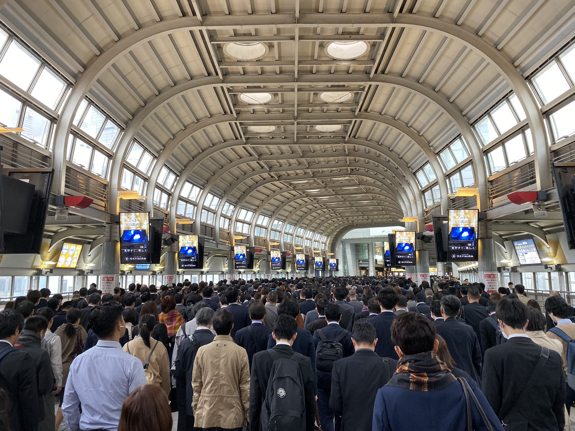 A river of people on their way to work in Tokyo.