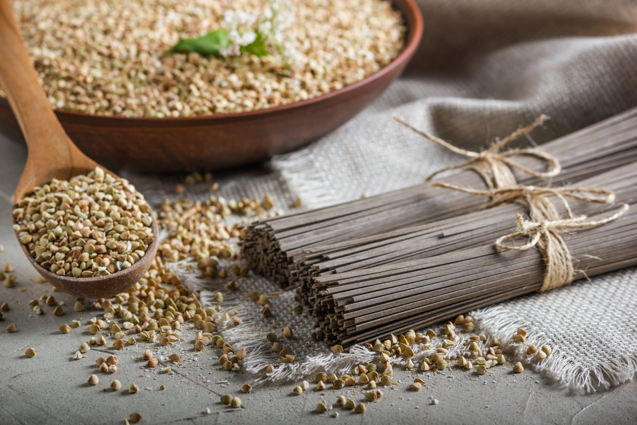 Rural still-life - traditional japanese soba noodles made of buckwheat flour and the peeled groats of buckwheat