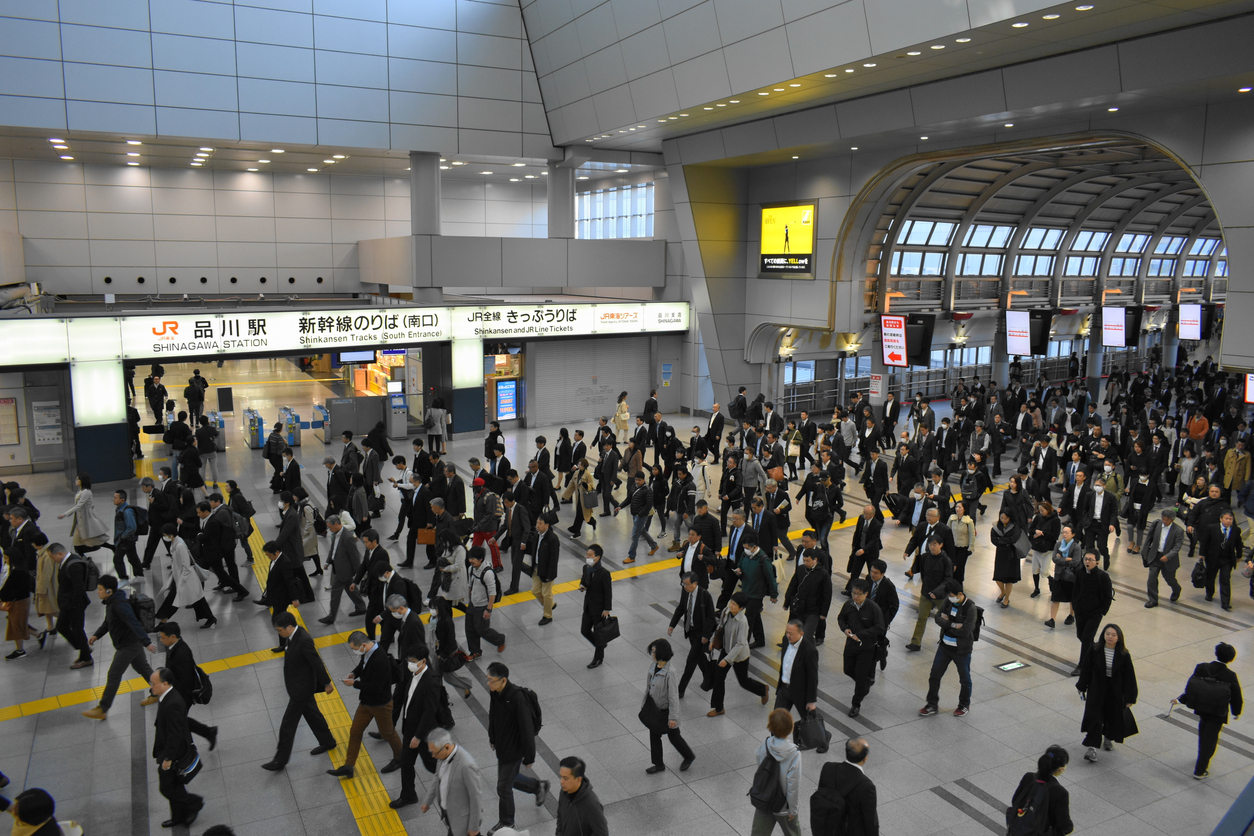 A crowded train station in Tokyo.