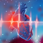 3d illustration of human heart and cardiogram on futuristic blue background. Digital technologies in medicine