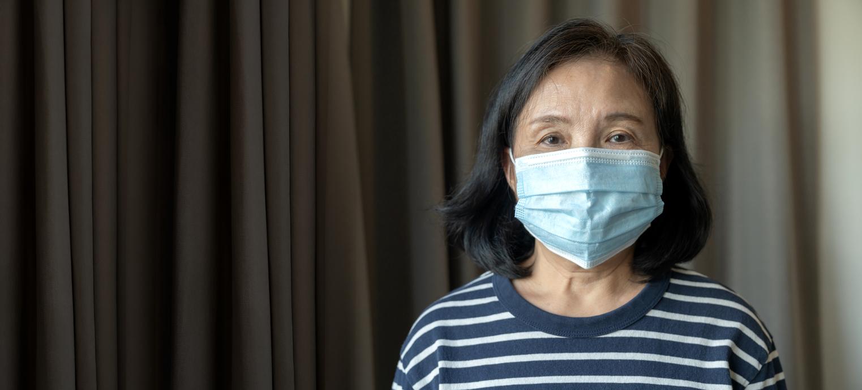 Portrait of Asian elder senior old female wearing face medical mask. pandemic coronavirus disease quarantine in home. Covid-19 outbreak prevention concept.