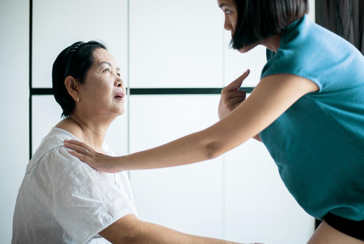 Senior asian woman with alzheimer's disease,Elderly women forgot remember faces and name