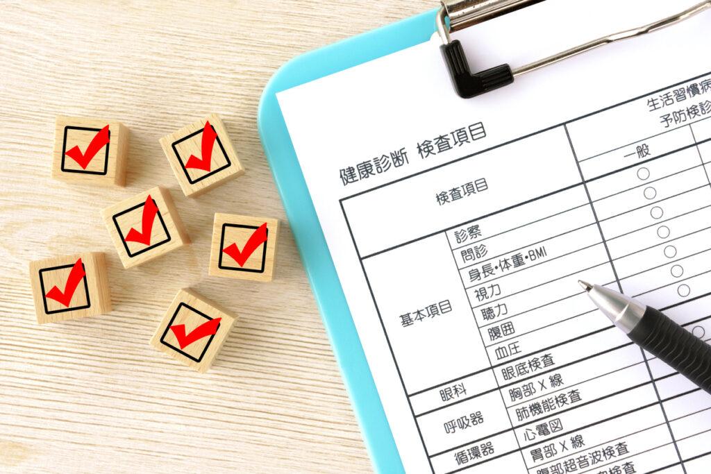 Checking box and medical examination sheet in Japanese